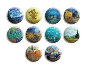 Vincent Van Gogh Pinback Buttons (10-Pack) – Cool Fashion Stocking Stuffers Accessories Indoor Outdoor Wear