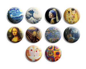CNSPBL5013 - Pinback Buttons - Famous Art Paintings
