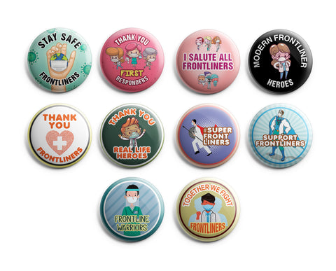 "Pinback Buttons Frontliners (10-Pack) - Large 2.25"" Frontliner Nurse, Doctor, Police, Medical Designs Pins Badge"