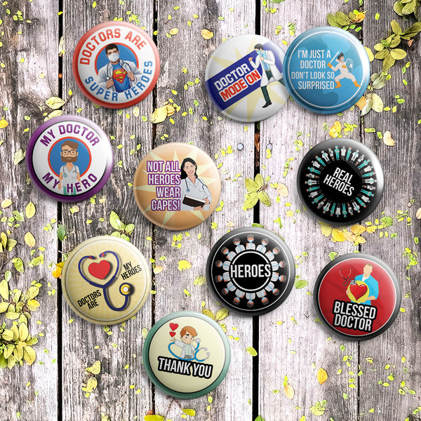 "My Doctor My Hero Pinback Buttons (10-Pack) - Large 2.25"" Frontliner Heroes, Doctor, Medical Designs Pins Badge"
