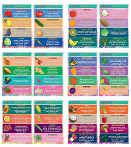 Creanoso Educational Learning Fruits and Vegetables Posters (24-Pack) – Fun Home Activity Bulk Set