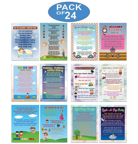 Creanoso Nursery Rhymes Series 1 Educational Posters (24-Pack) - Teacher Teaching Supply Bulk Set