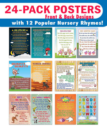 Creanoso Nursery Rhymes Educational Posters Series 2 (24-Pack) – Cool Homeschooling Aid – DIY Kit