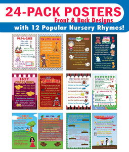 Creanoso Nursery Rhymes Educational Posters Series 3 (24-Pack) - Home School Learning Set