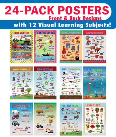 Creanoso Visual Objects Educational Posters (24-Pack) - Teachers Value Savers Bulk Buy