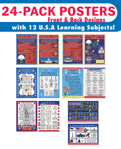 Creanoso USA Fun Facts Educational Learning Posters (24-Pack) - Bulk Set Teacher Teaching Supply