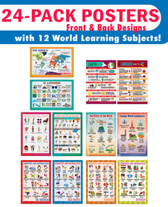 Creanoso Educational Learning Word Facts Posters (24-Pack) – Bulk Design Gifts Ideas for Kids Boys Girls