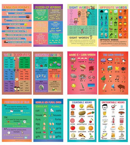 Fun English Learning Words Educational Posters (24-Pack)