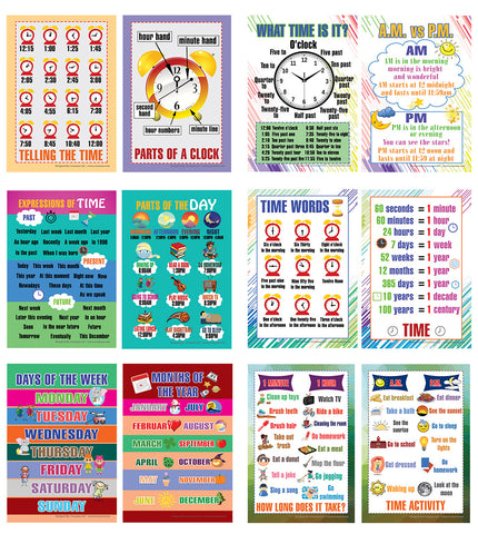 Telling Time Educational Learning Posters (24-Pack)