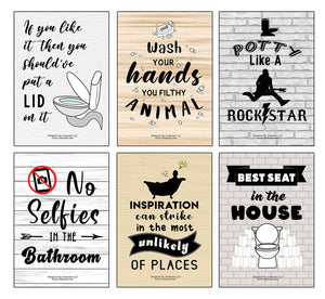 Creanoso Funny Bathroom Quotes Sayings Sign Posters (24-Pack) - Premium Quality Gift Ideas for Children, Teens, & Adults for All Occasions - Stocking Stuffers Party Favor & Giveaways