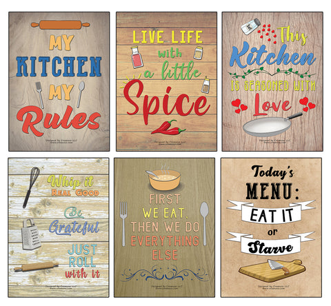 Creanoso Kitchen Quotes and Sayings Poster Prints (24-Pack) - Stocking Stuffers Gifts for Men Women Professionals Adults – Cool Wall Art Decal Décor for Home Office Classroom Storage Room – Great for Wall Hanging
