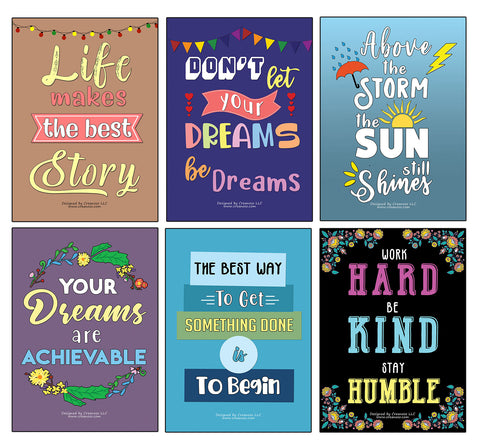 Creanoso Inspirational Quote & Saying Poster Prints (24-Pack) - Stocking Stuffers Gifts for Men Women Professionals Adults – Cool Wall Art Decal Décor for Home Office Classroom Storage Room – Great for Wall Hanging