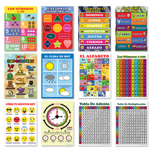 Spanish English Bilingual Numbers, Colors, Days of the Week, Months Educational Posters (24-Pack)