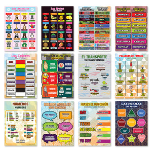Spanish Vocabulary English Bilingual Educational Learning Posters (24-Pack)
