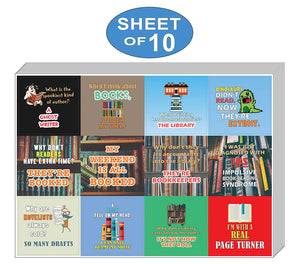 Creanoso Silly and Funny Puns Book Reading Stickers (10-Sheet) – Assorted Books Puns Sticker Set