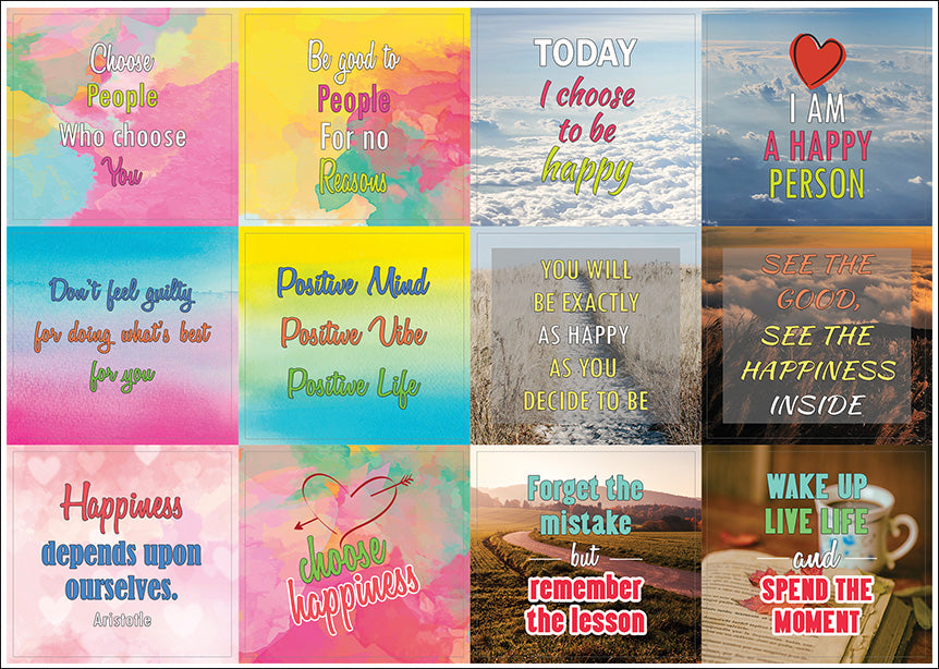 Creanoso Happiness Life Quotes Positive Stickers 60Sheet Premium Best Quotes About Happy Person