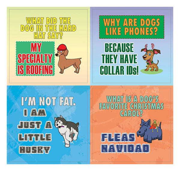 Creanoso Funny Dog Puns Jokes Stickers   - Awesome Stocking Stuffers Gifts - Wall Art Decal (5-Sheet)