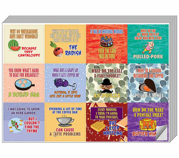 Creanoso Funny Food Jokes Stickers - Cool and Unique Gift Token Giveaways Sticky Cards Set for Food Lovers