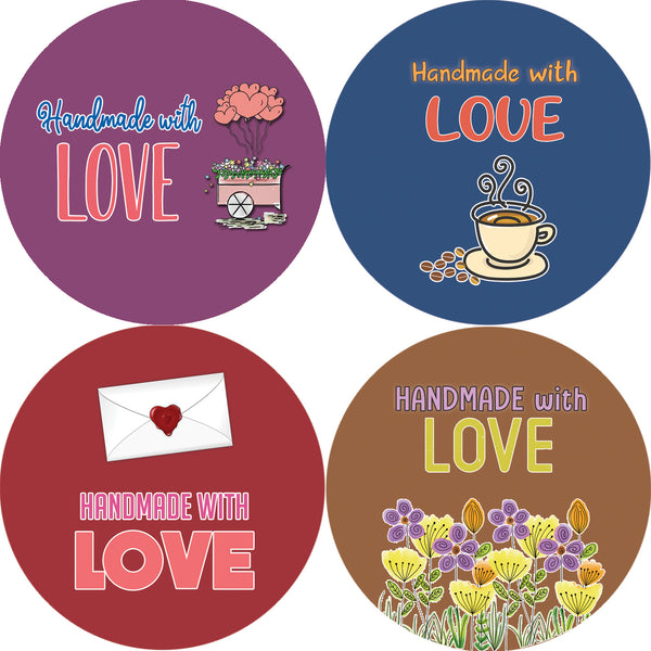 Handmade with Love Stickers - Floral- Colorful and Unique Designs Perfect for Any Occasions as Gifts