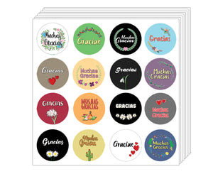 Thank You Stickers in Spanish Gracias (10-Sheet) - Awesome Stocking Stuffers Gifts for Boys & Girls, Teens, Adults – Wall Table Surface Decor Art Decal – Cool Giveaways