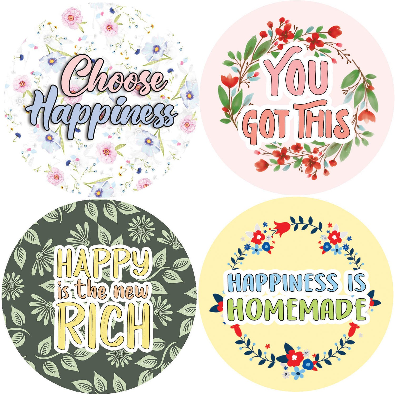 Creanoso Affirmation Stickers - Happiness Kindness Success  - Premium Gift Cards