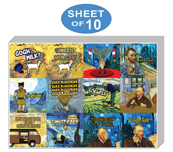 Creanoso Funny Stickers - Obsessed with Van Gogh Stickers Series 4 (10-Sheet) – Total 120 pcs (10 X 12pcs) Individual Small Size 2.1 x 2. Inches