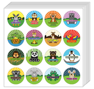 Creanoso German Animals Praise Words Rewards Stickers for Kids (20-Sheets) – Great Learning Wall Art Decal Stickers – Stocking Stuffers Gifts for Kids, Boys, Girls – Unique Sticky Cards Token Giveaway