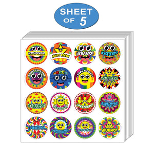 Creanoso-Spanish Happy Reward Stickers (5-Sheet)-  Interesting Design Flower Wall Stickies