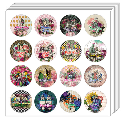Creanoso Alice in Wonderland Thank You Stickers – Gift Giveaways Stickers for Kids