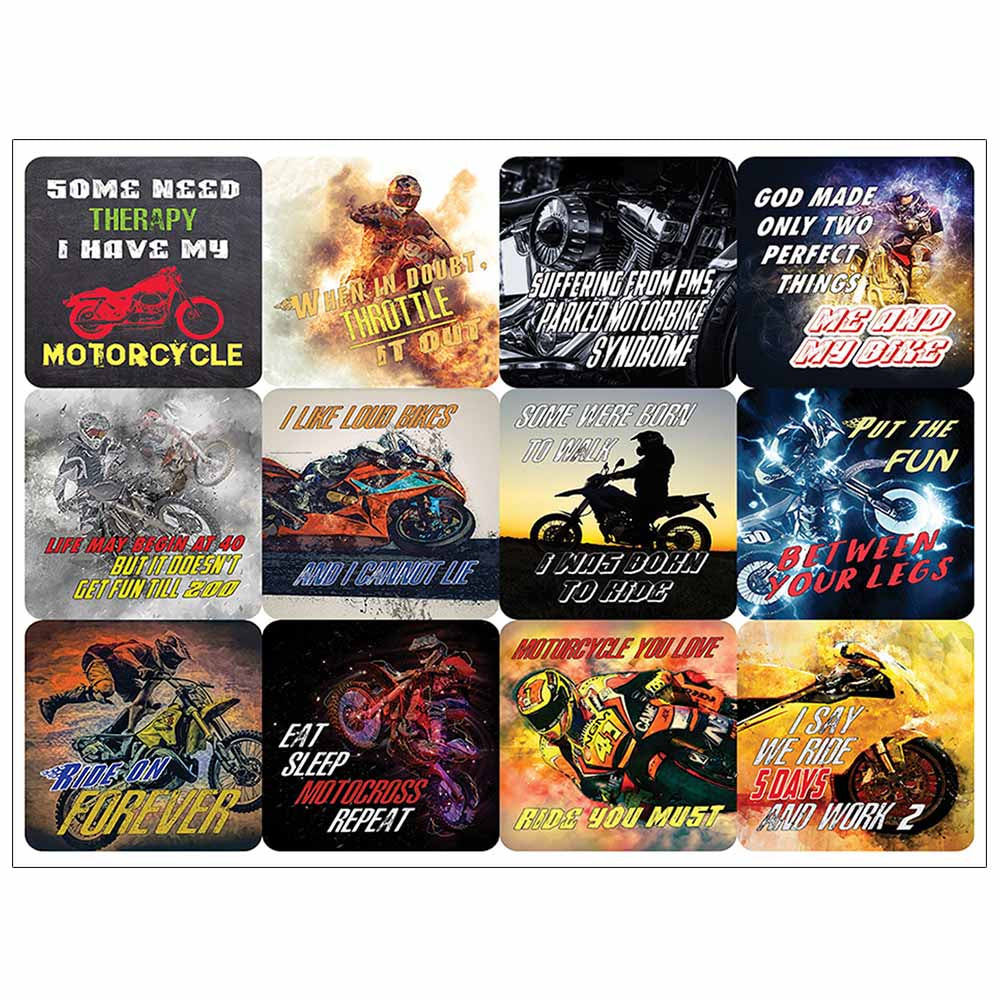 Creanoso Funny Words for Motorcycle Riders Waterproof Vinyl PVC Stickers - Premium Gift Set