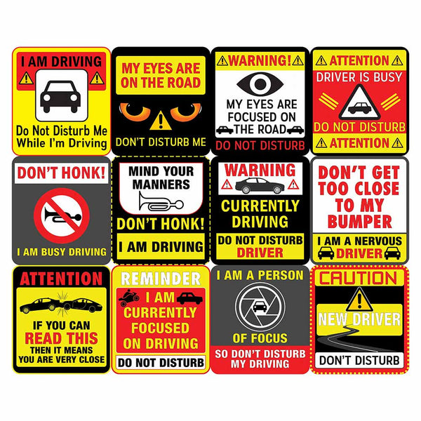 Creanoso Do Not Disturb My Driving Waterproof Vinyl PVC Stickers - Epic Collection Set for Drivers - Great Laptop Stickers