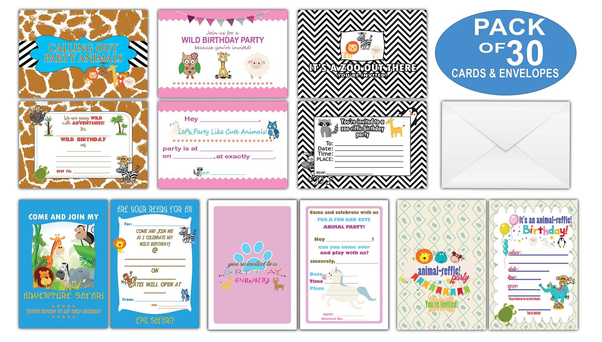 Creanoso cute animals themed birthday celebration invite cards 30 pac creanoso cute animals themed birthday celebration invite cards 30 pack invitation cards filmwisefo