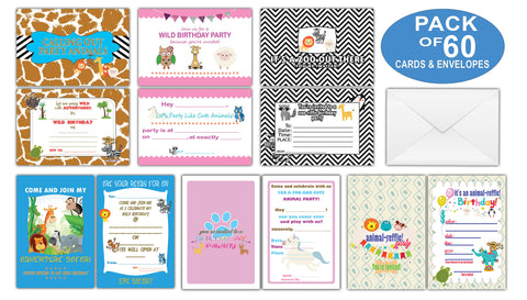 Creanoso Birthday Gifts Cards for Boys, Girls, Teens, Kids, Child (60-Pack) – Cute Animal Design