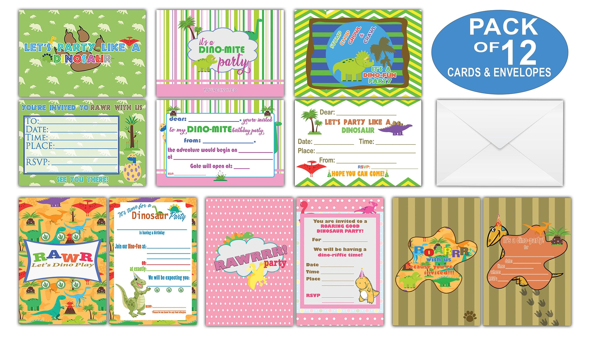 Creanoso Dinosaur Theme Birthday Invitation Cards 12 Pack