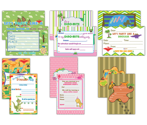 Creanoso Birthday Cards for Children (60-Pack) – Assorted Dinosaur Theme Design Set