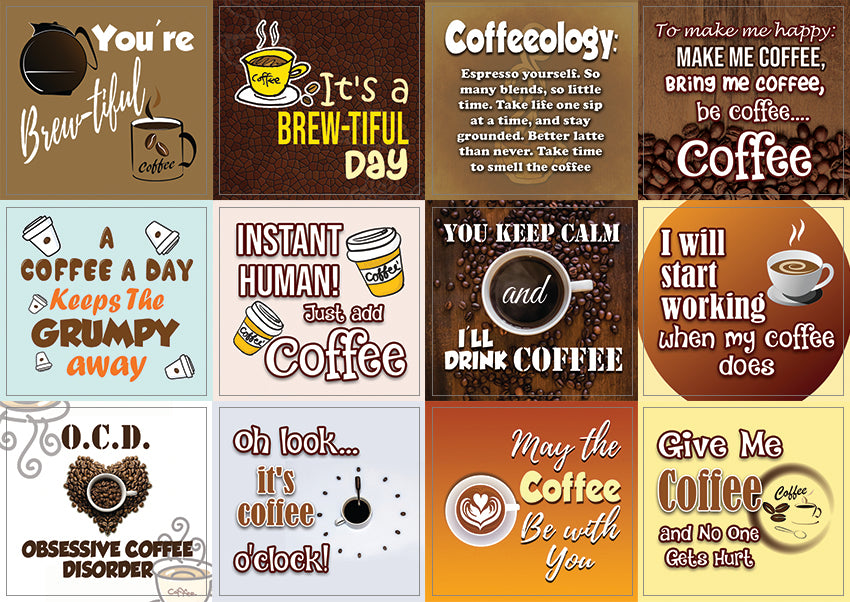 Creanoso Coffee Quote Stickers Series II (10-Sheet) – Premium Gift Set Rewards for Coffee Lovers