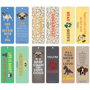 Creanoso Dog Bookmarks - Inspirational Dog Lover Gifts Bookmarks for Pet Owners - Bulk Card Set