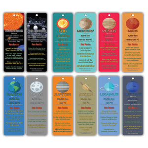 Creanoso Planets and Universe Fun Facts Bookmark Cards - Solar System and Galaxy Learning Pack
