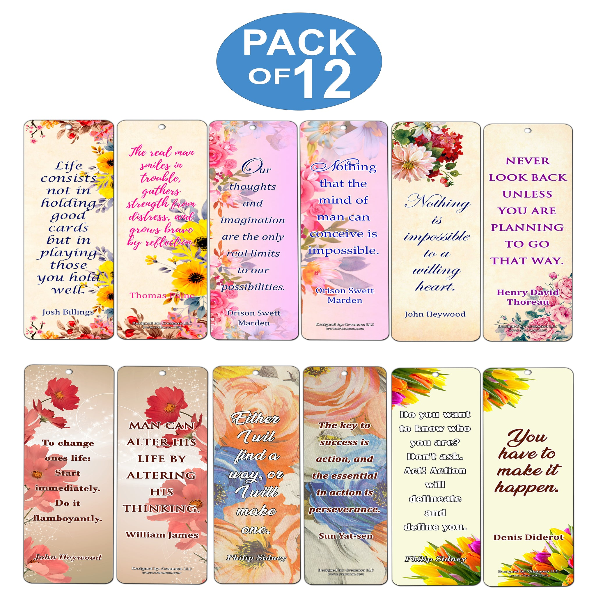 Products Bookmarks Design Inspiration And: Creanoso Floral Motivational Quotes Bookmarks For Women