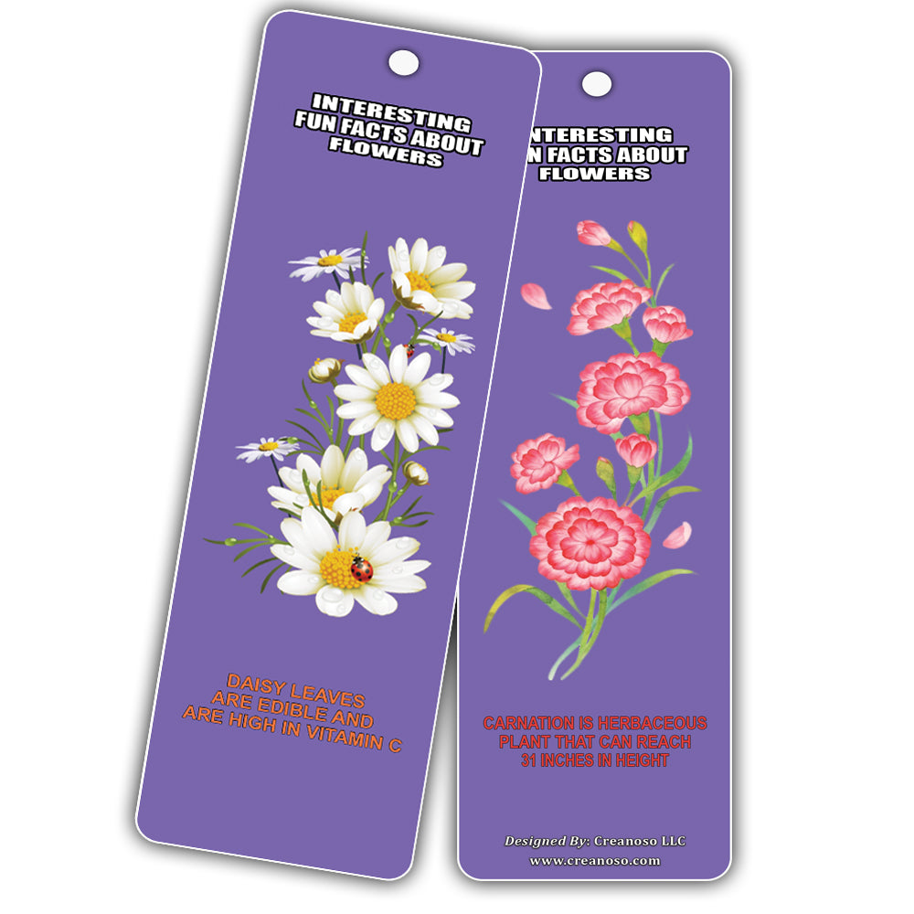 Creanoso Interesting Fun Facts About Flowers Bookmarks 60 Pack Gre