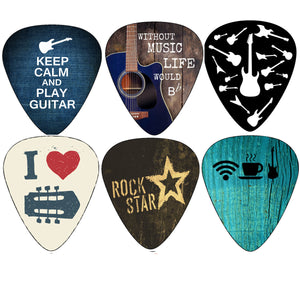 Creanoso Cool Guitar Picks (12pc)- Assorted Gauge - for Acoustic, Electric and Bass Guitars