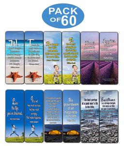 Creanoso Inspirational Quotes Bookmarks Cards (60-Pack) - Happiness Joy Health Bookmarker Bulk Set