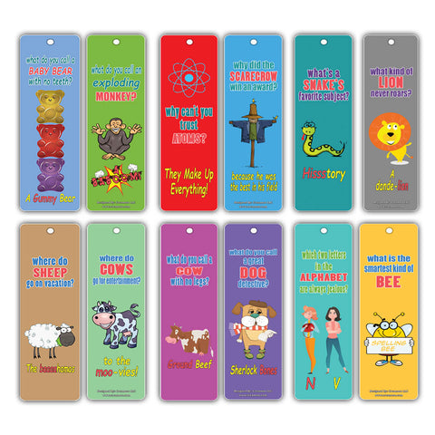 Creanoso Animal Silly Jokes Kids Bookmarks Set Series 2 - Excellent Party Favors