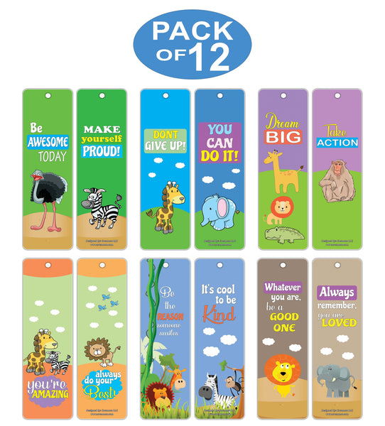 Creanoso Safari Animals Motivational Bookmark Cards – Inspiring Inspirational Words for Kids