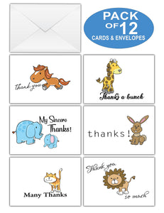 Creanoso Thank You Cards – Cute Animal Theme Design (12-Pack) – Bulk Note Cards for Special Events