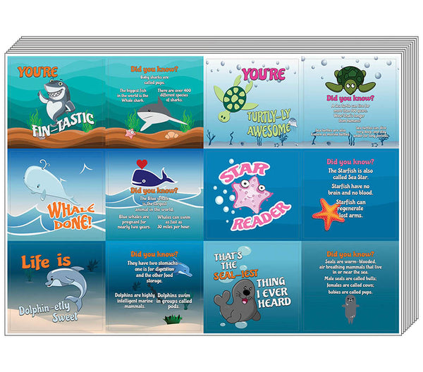 Creanoso Under the Sea Stickers for Kids  – Fun Facts Sea Animals Learning Cards