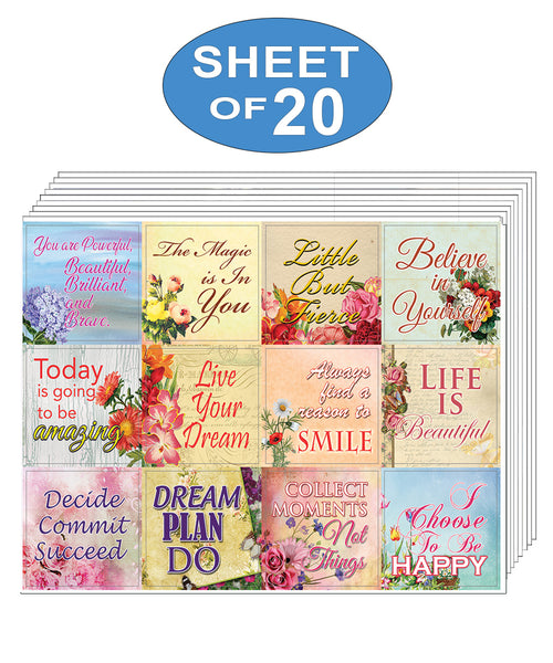 Creanoso Inspirational Motivational Uplifting Stickers (20-Sheet) - Inspirational Sayings Gift Stickers – Awesome Stocking Stuffers Gifts for Women & Mothers - Wall Art Decal Pack Set