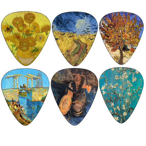 Vincent Van Gogh Guitar Picks - Famous Fine Art Painting Collection - Assorted Pack Set