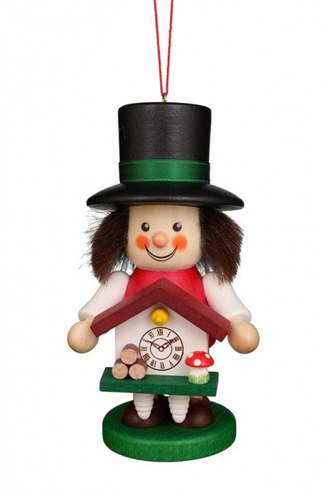 Large gnome Christmas tree decoration -  Colourful cuckoo-clock maker