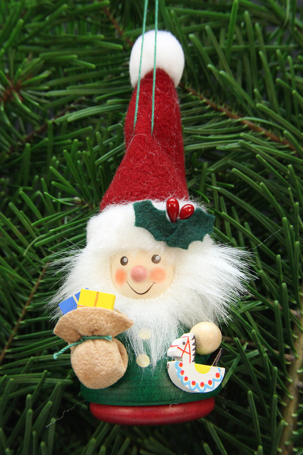 little gnome christmas tree decoration red and green santa